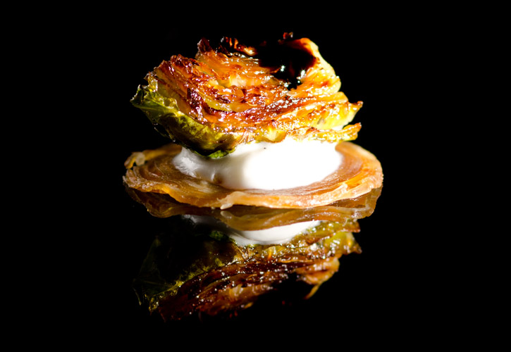 Prosciutto Chips, Onion Foam, Roasted Brussels Sprouts | Molecular ...